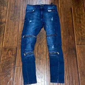 Zara Men's blue Jeans zippered Jeans